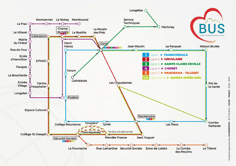 Plan des lignes de bus Coeur de Maurienne Arvan 3CMA