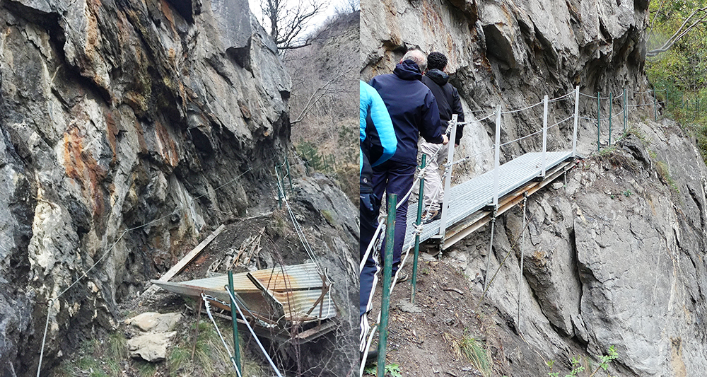 Travaux 3CMA sur sentier de randonnée aux Gorges du ruisseau de La Ravoire Pontamafrey-Montpascal