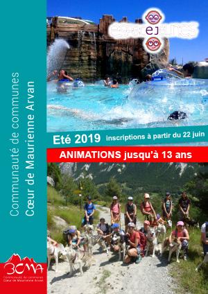 Programme des animations jusqu'à 13 ans - été 2019