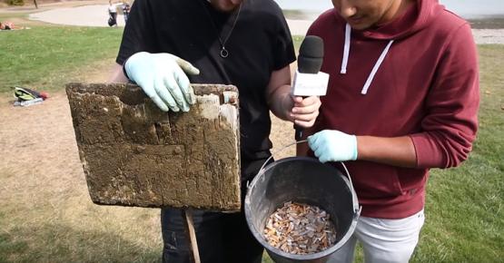 Nettoyage du plan d'eau des Oudins à Villargondran