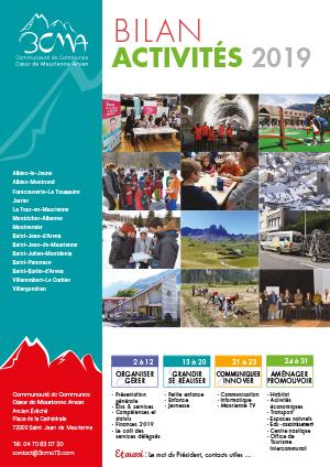 Page de couverture bilan d'activités 2019 3CMA